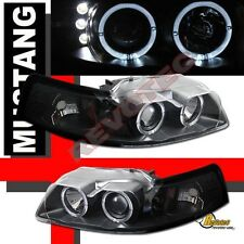 99-04 Ford Mustang GT Black Halo Angel Eyes LED Projector Headlights RH + LH