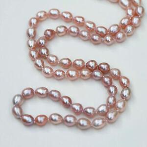 Nice AAAA 7-8x7-9mm baroque drop pink-purple freshwater pearl 65cm necklace 221