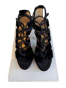 Yves Saint Laurent size 36.5 lace-up Velvet Heels