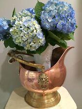 Copper Dutch Helmet Coal ash scuttle bucket Delft Blue handle brass Lion head