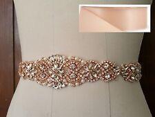 "Wedding Sash Belt - Rose Gold Crystal Pearl Sash Belt = 14 1/2"" long = BLUSH"