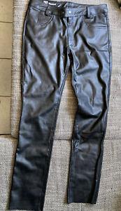 Bockle skinny faux Leather W36 Kunstleder hose Lederjeans gay Bluf Schwarz