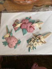 3 Piece Burwood Products Hummingbirds Flower Wall Art 3303