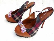 "Dark Tan Brown Plaid Tartan Bow slingback platform stiletto 6"" heel shoes 6 39"
