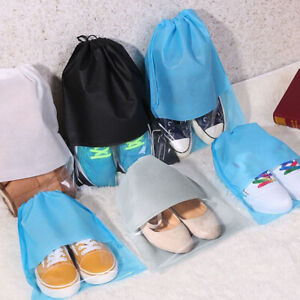 12Pcs Men Women Travel Non-Woven Drawstring Shoe Bags Clear Window Carrier