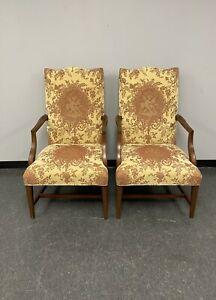 Ethan Allen Martha Washington Accent Chairs Upholstered Victorian Cherub Fabric