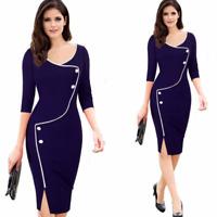 Fashion Women Back Zipper Formal Office Wear To Work Ladies Pencil Dresses
