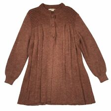 Peruvian Link Alpaca Collection Rust Red Brown Thick Long Cardigan Sweater S/M