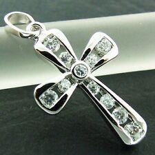 CROSS PENDANT GENUINE REAL 18K WHITE G/F GOLD SOLID DIAMOND SIMULATED DESIGN