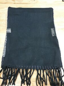 FRANGI Black Patterned Wool Blend Scarf