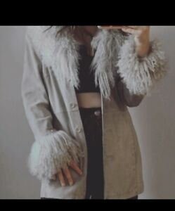 Genuine Suede Leather Mongolian Fur Coat Sheepskin Boho Uk 8 Simone