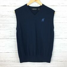 Carnoustie Men's Navy Blue Wool Golf Vest Blue Monogram Sweater Vest large