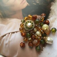 Vintage C1960s Very Large brooch glass faux baroque pearl Drop beads waterfall