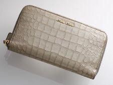 G7769 Authentic MIU MIU Crocodile-Embossed Leather Zip-Around Long Wallet