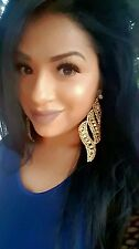 Clip On CHANDELIER Topaz gold rhinestone EARRINGS drag queen beauty pageant