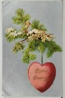 Christmas Greetings Pine Branch Suspended Heart Embossed Postcard L15