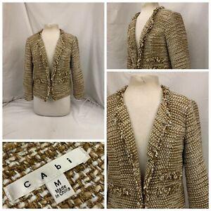 Cabi Blazer Jacket M Tan Poly Acrylic Lurex Weave Clasps LNWOT YGI U1-212
