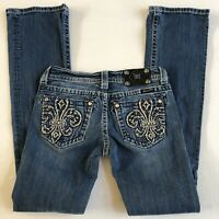 Miss Me Buckle {Boot Cut Fleur Crystal embellished Jeans} Womens size 2 26 x 33