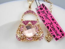 Betsey Johnson cute inlaid Crystal pink handbag pendant necklace # F