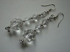 alte Ohrhänger, facettierte, klare Kunststeine, 7cm lang