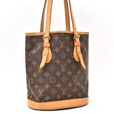 Подлинный монограмма Louis Vuitton ведро Pm M42238 наплечная сумка коричневый холст