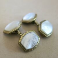 Art Deco Cufflinks Mother of Pearl in Gold Tone Metal [3712]