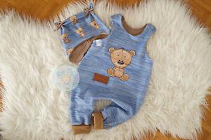 ♥ Baby-Set, Gr. 74, handmade Unikat, Strampler, Babymütze, Teddy, Strick, blau ♥