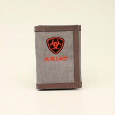 Ariat Center Logo Grey & Red Cotton & Leather Trifold Wallet A3542404