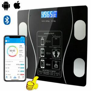 Bathroom Weighing Digital Scales Bluetooth Smart Body Fat BMI Glass UK