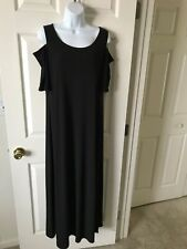 Chicos Womens Maxi Dress Black Cold Shoulder Cut Out Sleeves Size 1 New