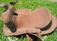 Old Western Cutting Saddle Heavily Damaged from Port Hudson Louisiana