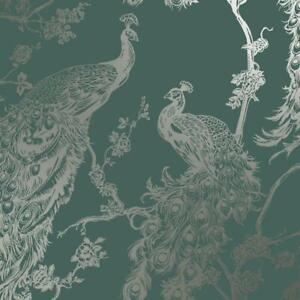 Glistening Green Peacock Wallpaper with Metallic Gold by Holden Statement 12963