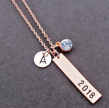 College Graduation Gift Grad gift for her Rose gold Bar Necklace 2018 Graduation
