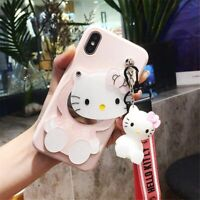 3D Cartoon Hello Kitty Phone Case With Mirror and Strap For Samsung S10+ S9 S6