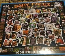 Baby Faces 1000 Extra Large Pc Puzzle Of Animal Faces (White Mountain) Mint Cond
