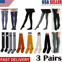 3pairs Women Cable Knit Extra Long Boot Socks Over Knee Thigh High Warm Stocking