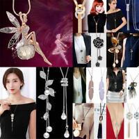Women Fashion Crystal Pendant Long Tassel Chain Sweater Necklace Jewelry Gift