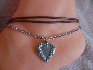Echt Leder Fußkette braun mit Kette dreireihig Edelstahl Herz Anhänger Silbern