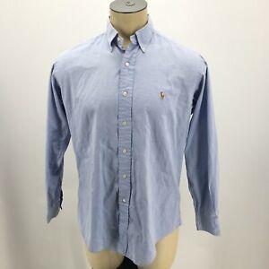 Ralph Lauren Yarmouth Dress Shirt Long Sleeve Button Down Cotton Blue Mens 15-33