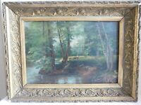 """Oil on Canvas Anonymous """" Under Wood With Shepherdess """" French School Barbizon"""
