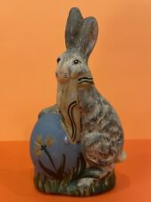 Vintage Signed Walnut Ridge Collectibles Chalkware Easter Rabbit In Egg 2000