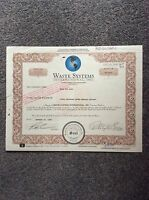 Waste Systems Int. Dated 1999 4711 Shares Invalid  SHARE CERTIFICATE