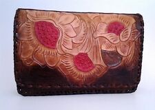Authentic Mexican Hand Tooled Leather Vintage Clutch.
