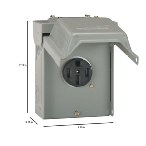 RV Power Outlet Box Receptacle 50 Amp Temporary Patlock Rainproof Assembled New