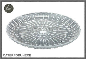 LARGE CLEAR ACRYLIC PLASTIC CRYSTAL SERVING PLATE TRAY DINNER PLATTER DISH ROUND