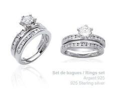 Dolly-Bijoux Bague Rhodié T62 2 en 1 Alliance Solitaire de Diamant Cz Argent 925