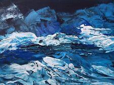 "MIDNIGHT SEASCAPE STORM Acrylic Painting 9""x12"" Ocean Art OOAK Julia Garcia"