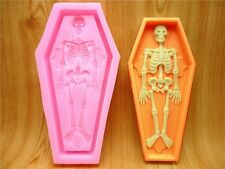 Halloween Party Deco Cake Coffin Skeleton Silicone Fondant Chocolate Candle Mold