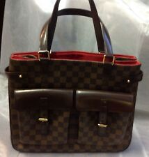 Louis Vuitton Damier Ebene Uzes Tote/Coated Canvas Chocolate Brown Leather Trim