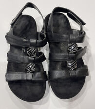 Vionic Womens 44 Amber Black Strappy Sandals Shoes Sz 7W Wide